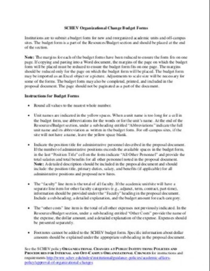 Organizational Change Budget Form Template Sample Example Budget Organizational Budget Template Samples