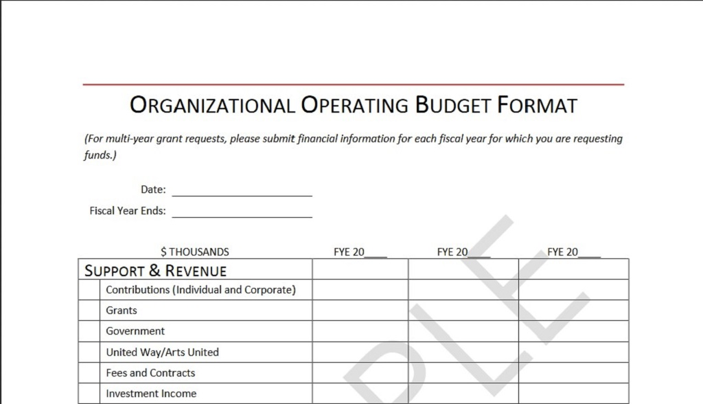 Organizational Operating Budget Template Format Sample Example