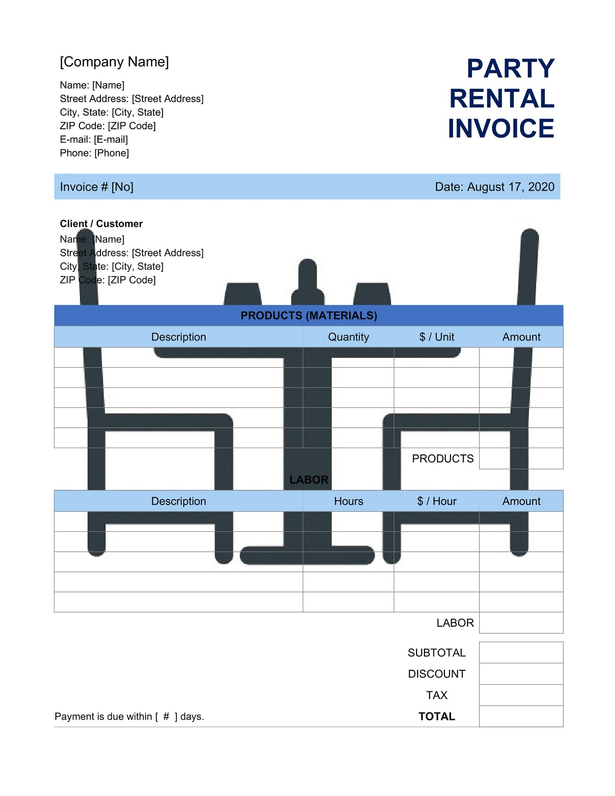 Party Rental Invoice Template