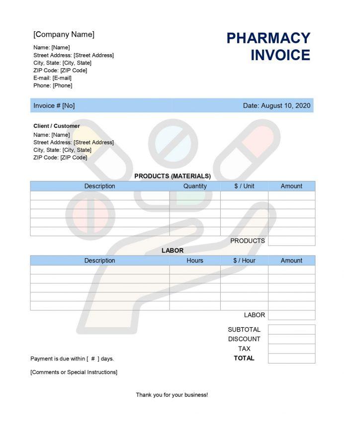 Pharmacy Invoice Form Sample Invoice Free Pharmacy Invoice Template