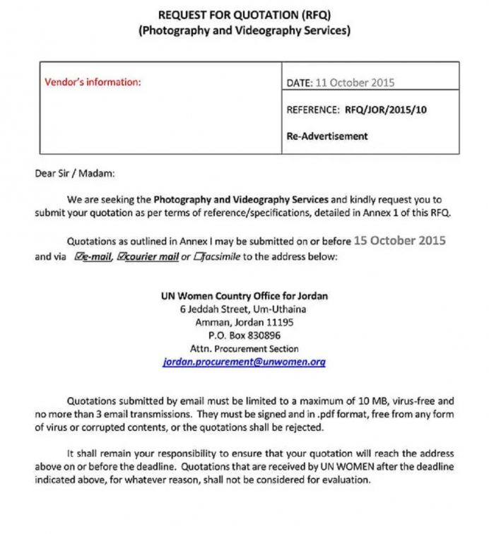 Photography Videography Service Budget Quotation Template Form Example Sample Budget Photography Budget Template Examples