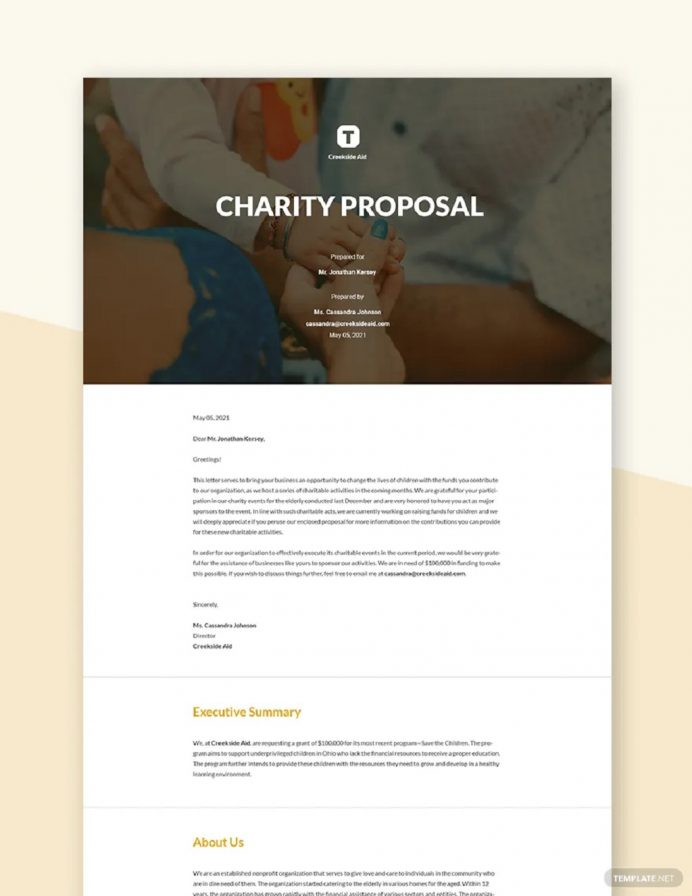 Printable Nonprofit Charity Fundraising Event Proposal Template Example Sample Proposal Non-Profit Proposal Template Examples