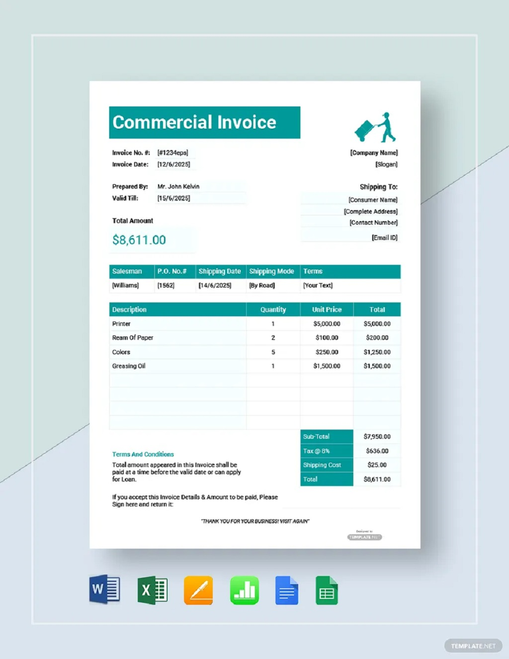 Free Printable Commercial Invoice Template Format Form Example Sample