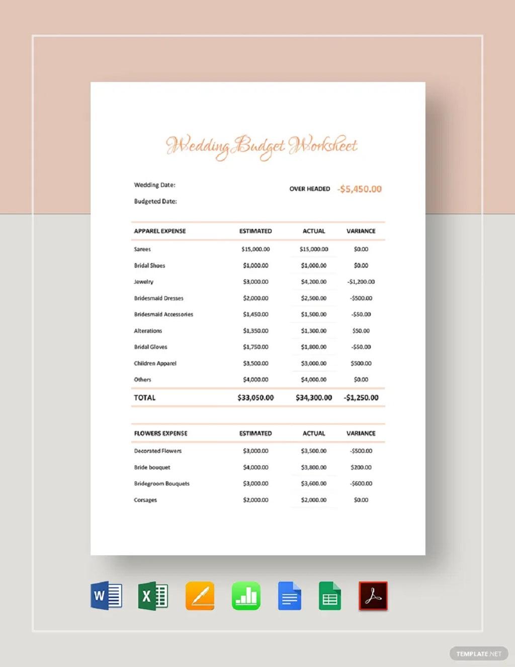 Printable Wedding Budget Worksheet Template