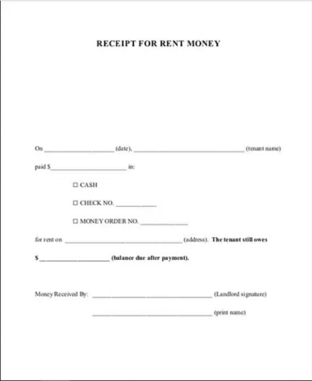 Rent Money Invoice Template Format Sample Example