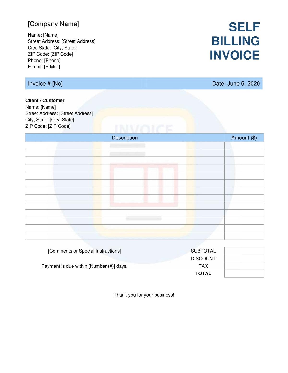 Self-Billing Invoice Format
