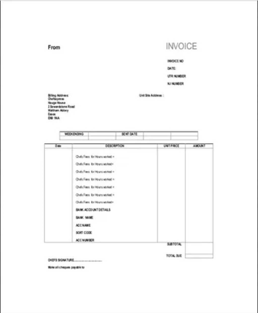 Self Employed Chef Invoice Template Sample Example