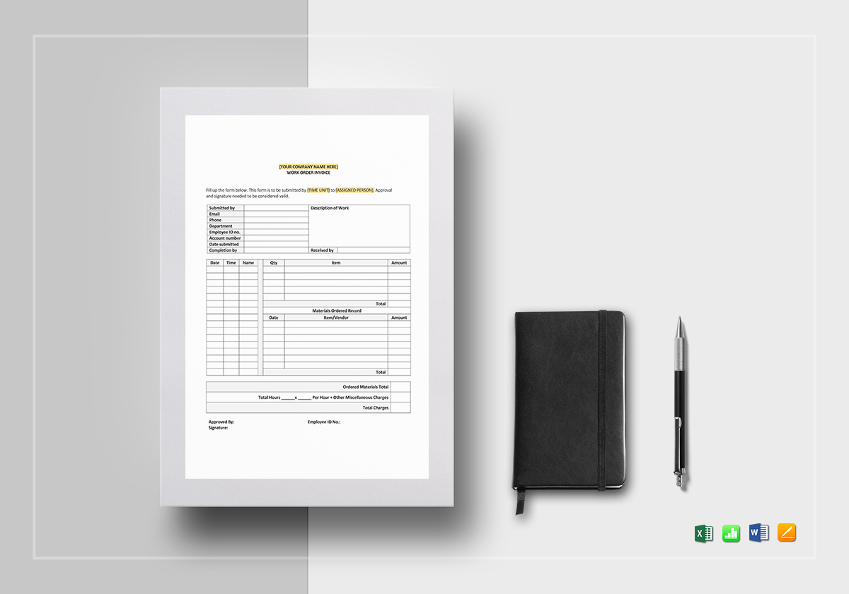 Self Employed Work Order Invoice Template Sample Example