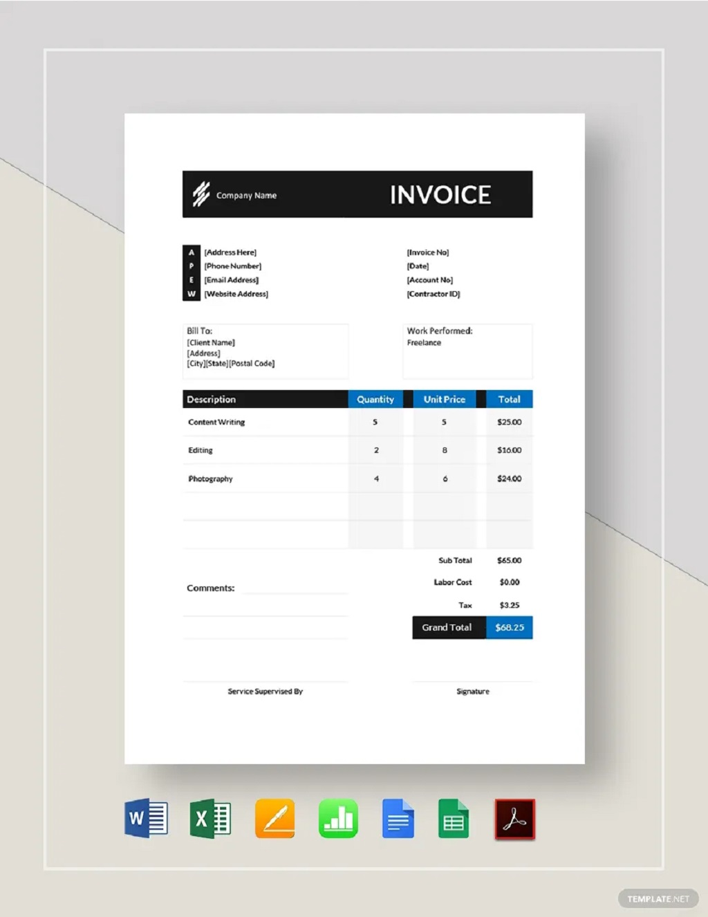 Self Employed Contractor Invoice Template Sample Example