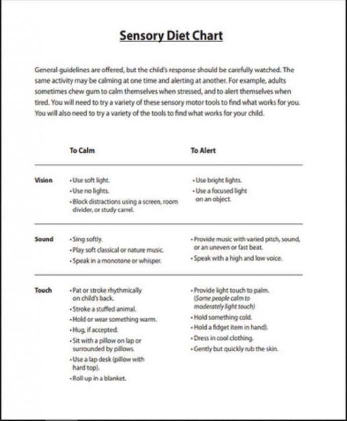 Sensory Diet Chart Template Form Example Sample Meal Plan Food Word Charts Balanced Pdf  Samples