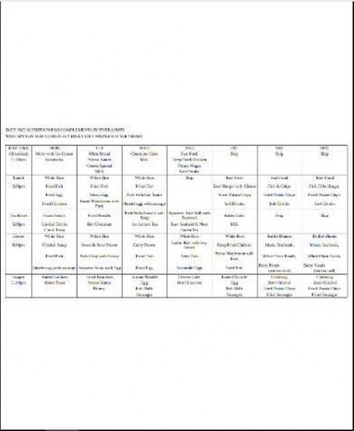 Simple Diet Chart Template Form Example Sample Meal Plan Food Word Charts Balanced Pdf  Samples