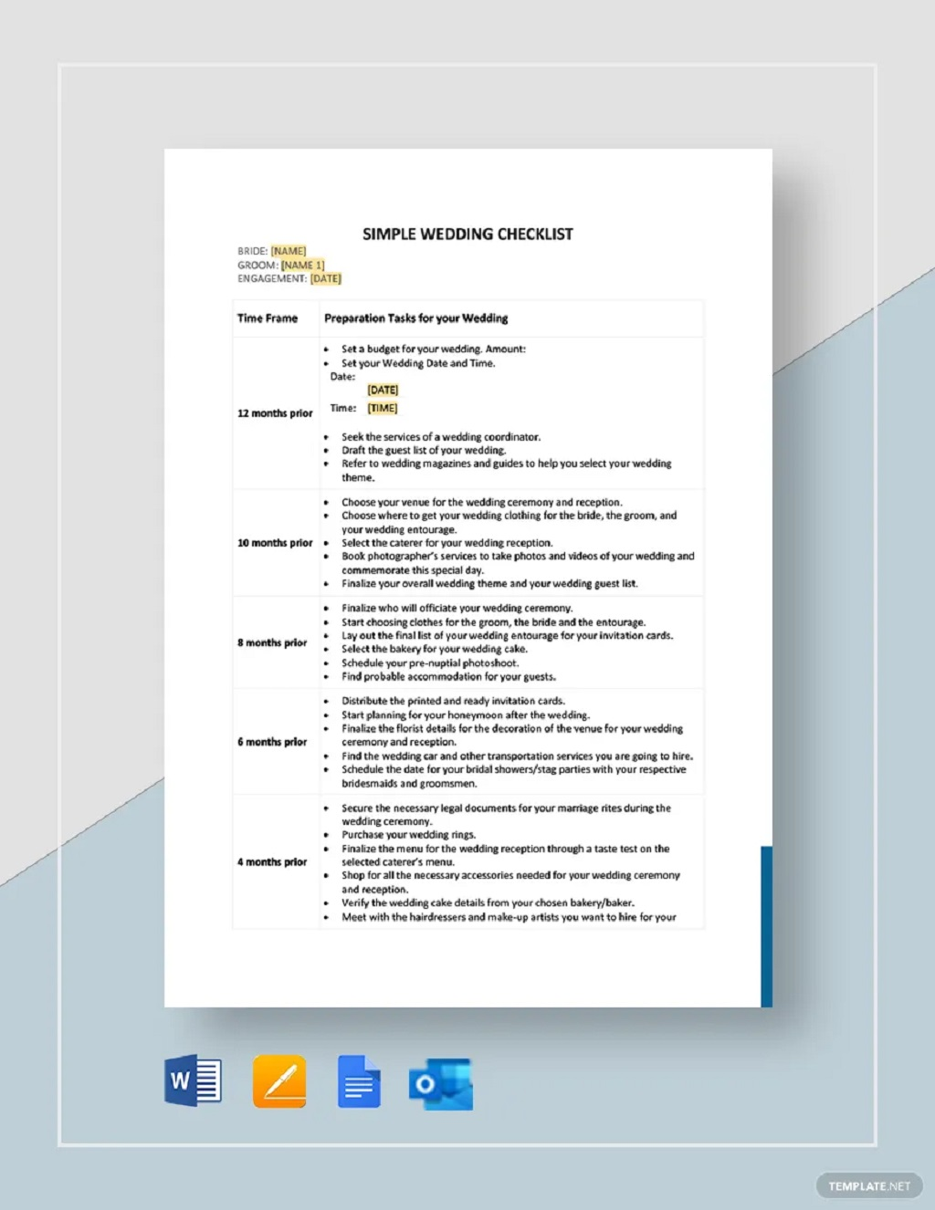 Simple Wedding Checklist Template Format Sample Example