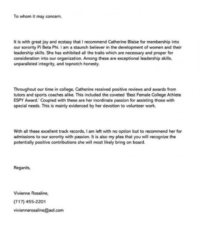 Sorority Recommendation Letter Template For College Sample Student Format Teacher Employee From Manager  Samples