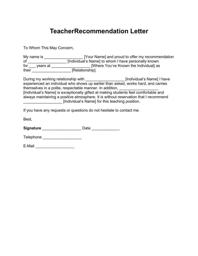 Teacher-Recommendation-Letter-Template-1 Letter Recommendation For College Sample Student Format Teacher Employee From Manager  Template Samples