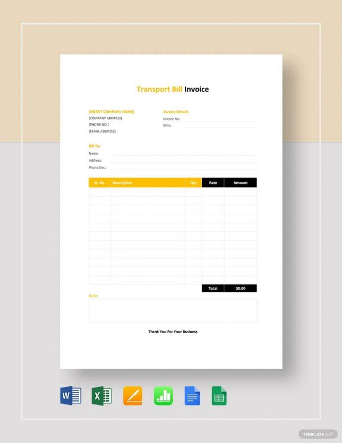 Transport Billing Invoice Template Invoice Billing Invoice Template Examples