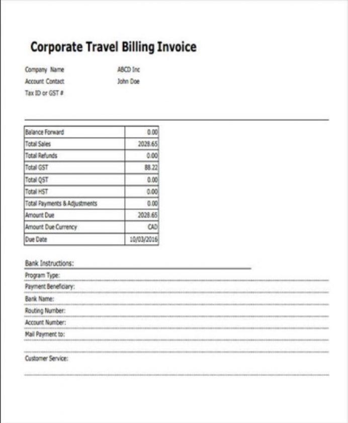 Travel Billing Invoice Template PDF Format Invoice Billing Invoice Template Examples