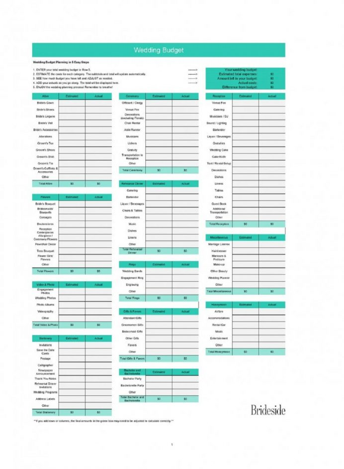 Free Wedding Budget Spreadsheet Template Format Sample Example Xls Budget Wedding Budget Spreadsheet Template Examples