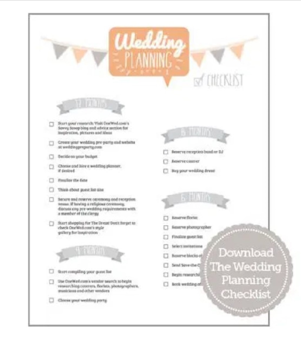 Wedding Planning Checklist and Timeline Format Sample Example