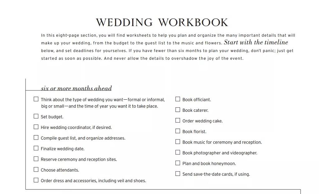 Wedding Checklist Workbook Template Format Sample Example
