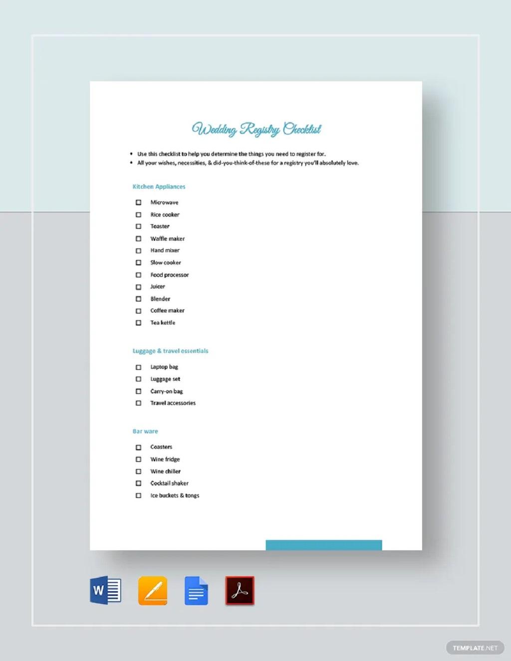 Wedding Registry Checklist Template Format Sample Example