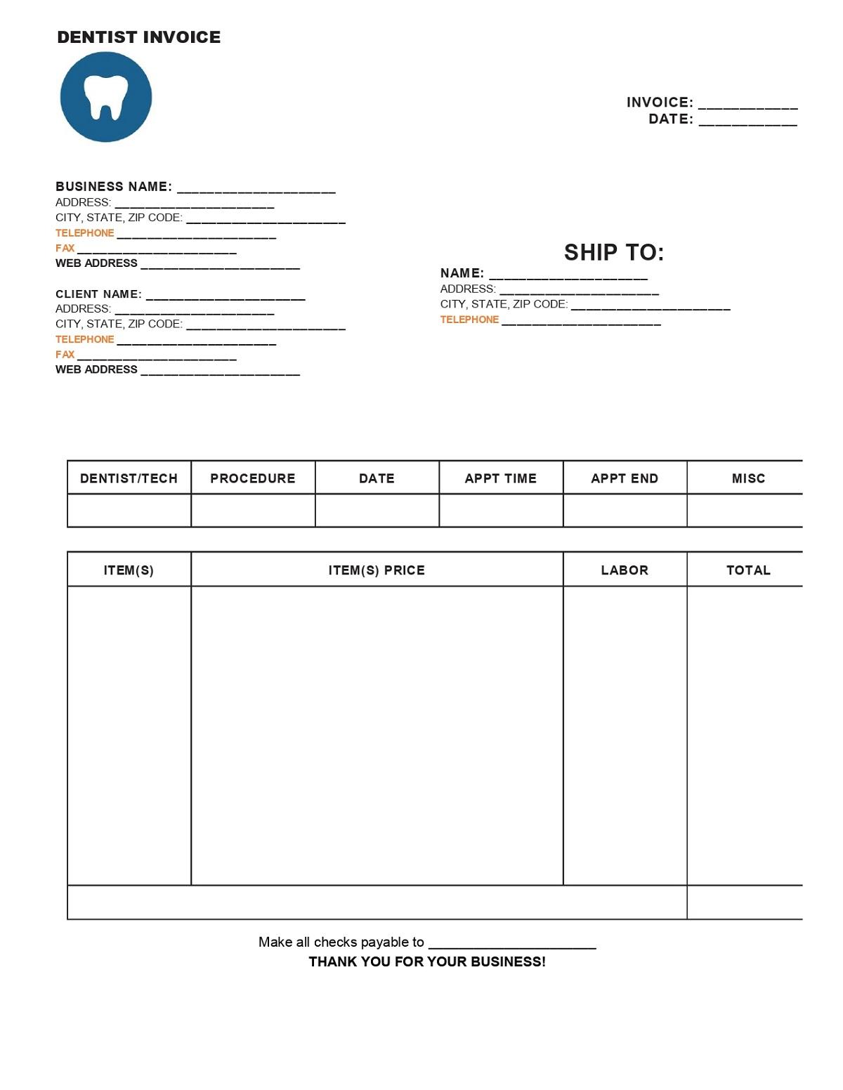 Dental Invoice Form