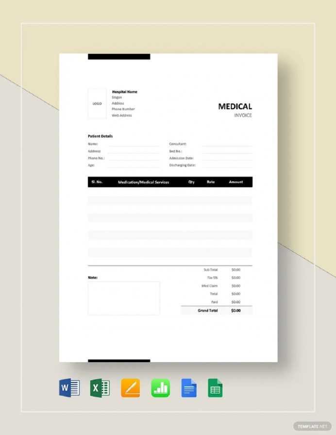 Medical Bill Invoice Format Template Example Sample Invoice Medical Invoice Template Samples
