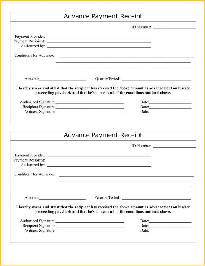 Advance Payment Word Receipt Template Format Receipt Advance Payment Receipt Template Sample