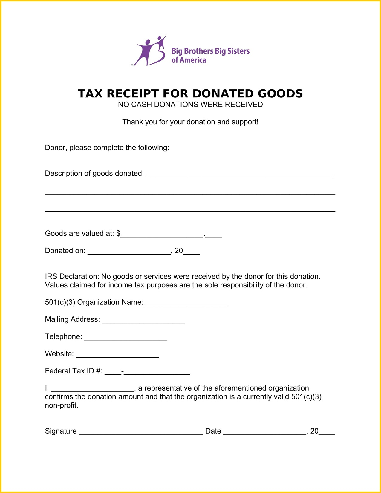 BBBS Donation Receipt Template Word Free