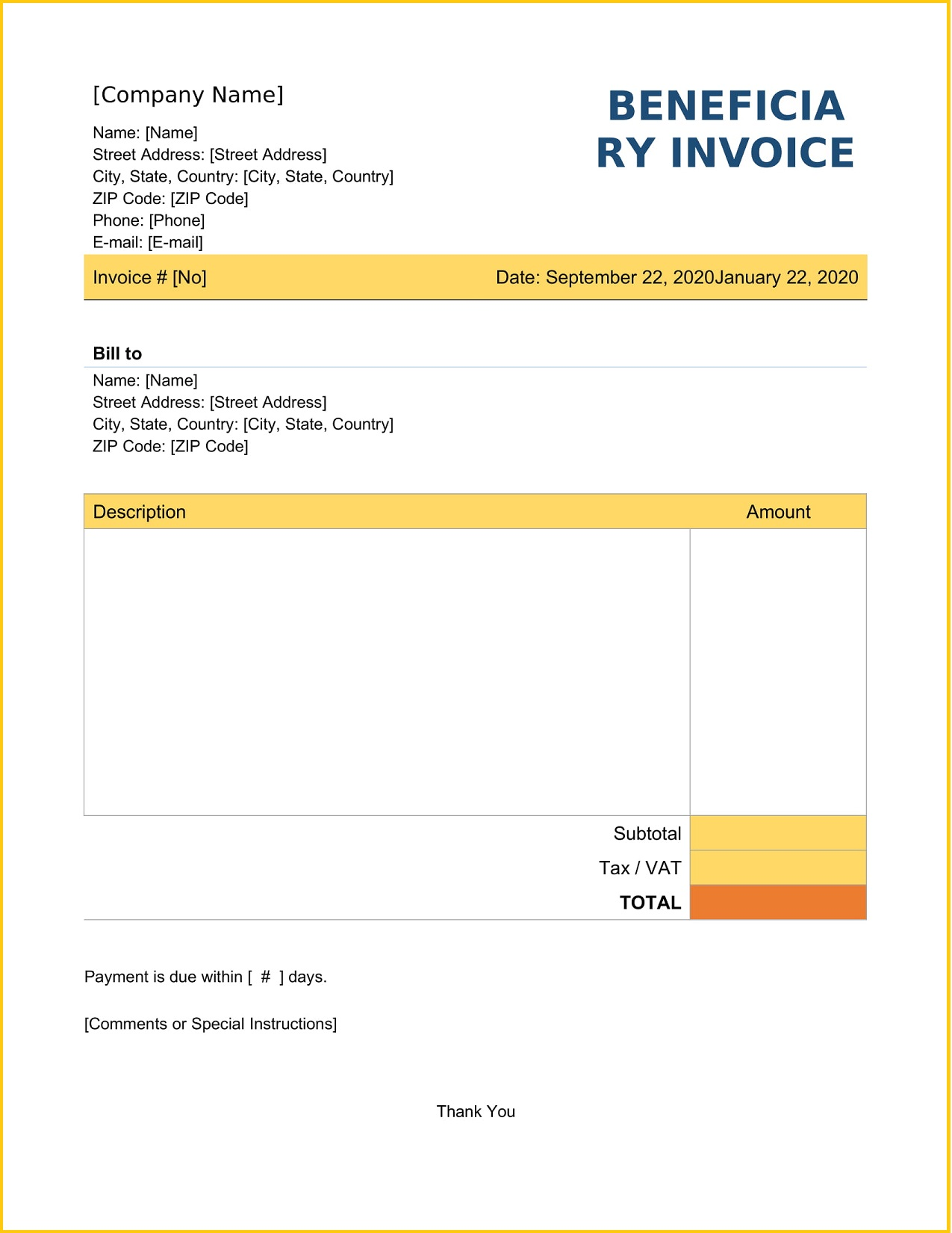 Beneficiary Invoice Word Template Free Printable