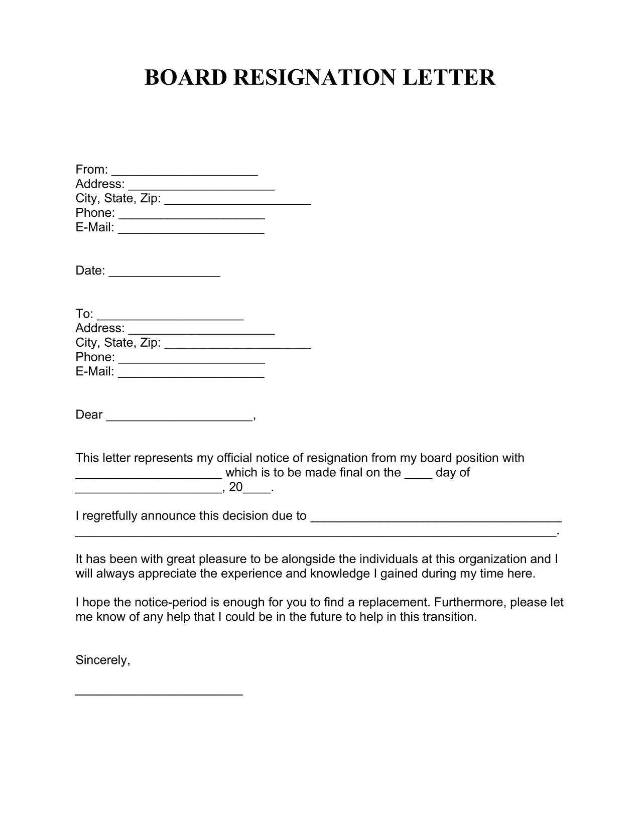 Board Resignation Letter Template PDF