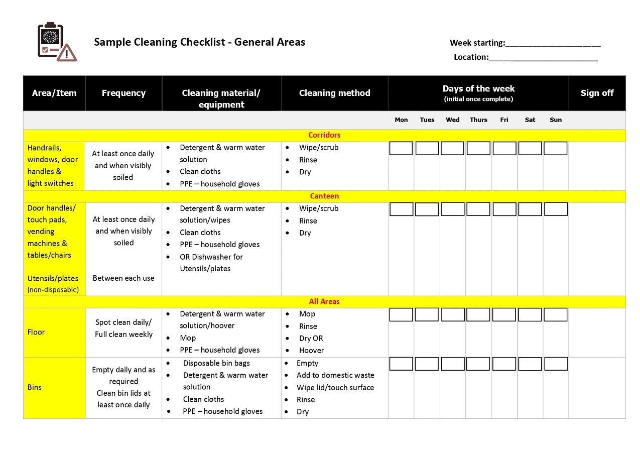COVID-19 Cleaning Checklist Schedule Template PDF