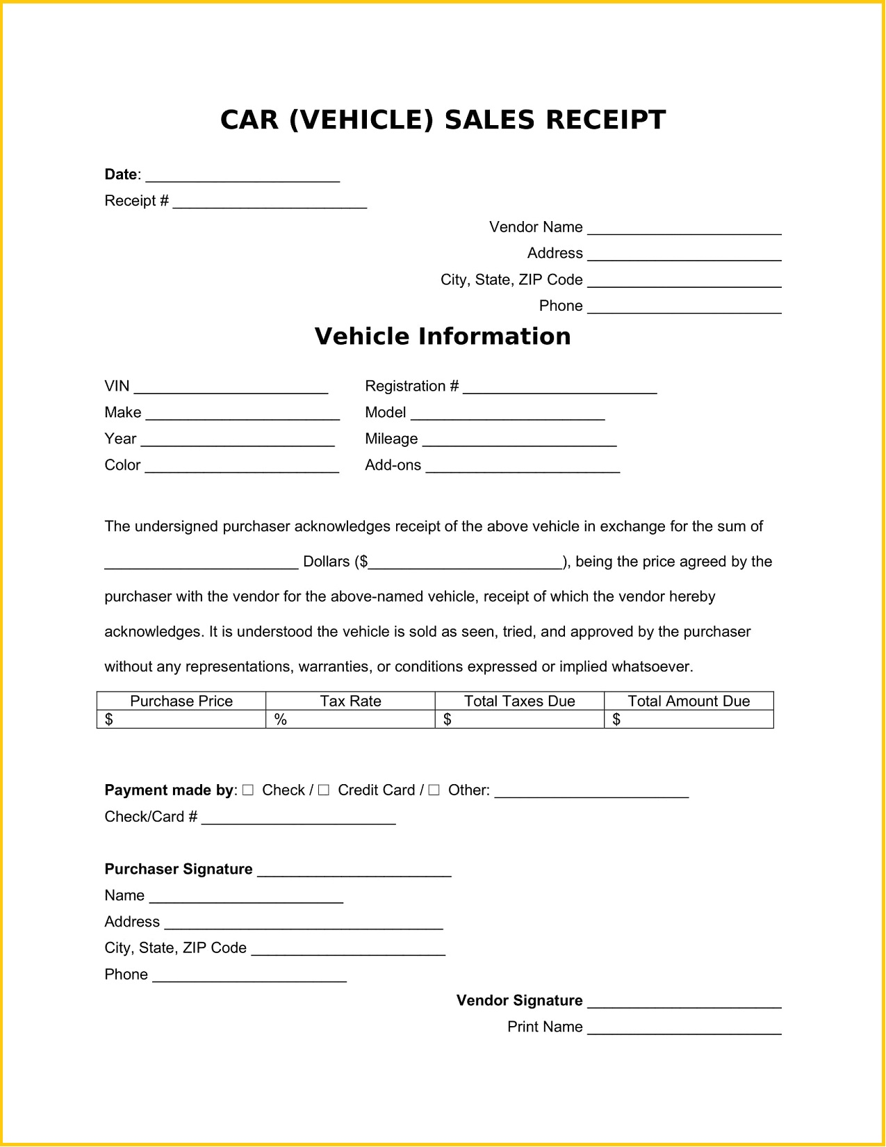 Car Vehicle Sales Receipt Word Template
