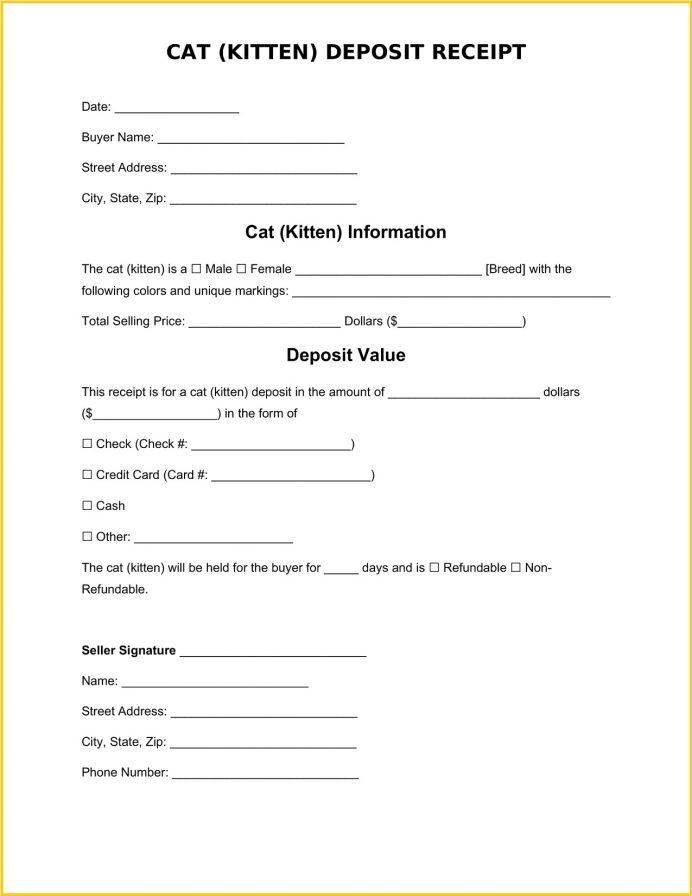 Cat Deposit Receipt Word Template Receipt Sample Cat (Kitten) Deposit Receipt Template