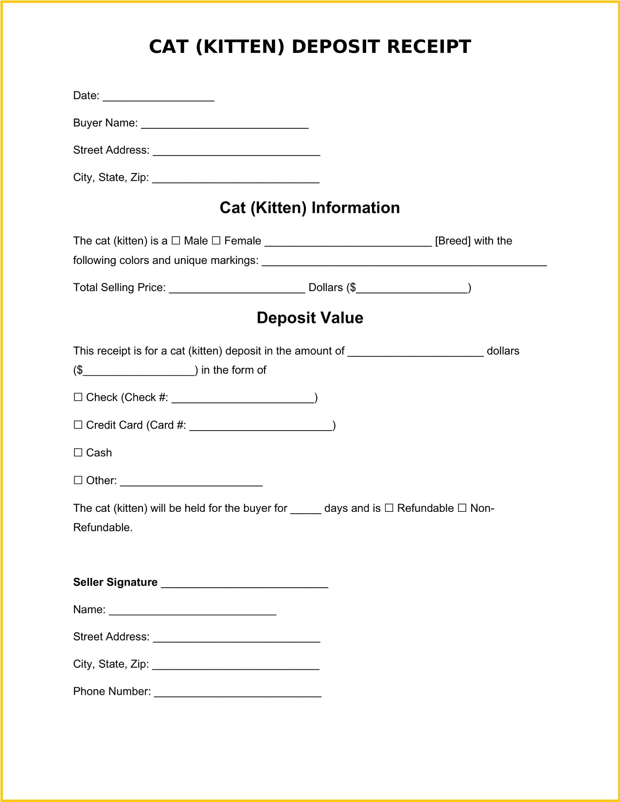 Cat Deposit Receipt Word Template