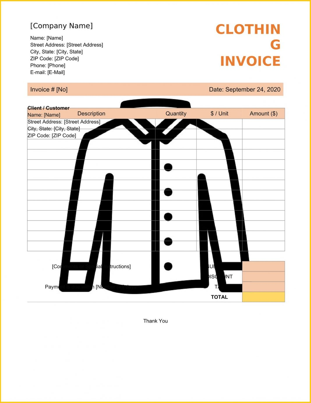 Clothing Invoice Word Template Tax Sample Cloth Shop Bill Format In Invoicemaker  (Garments) Large