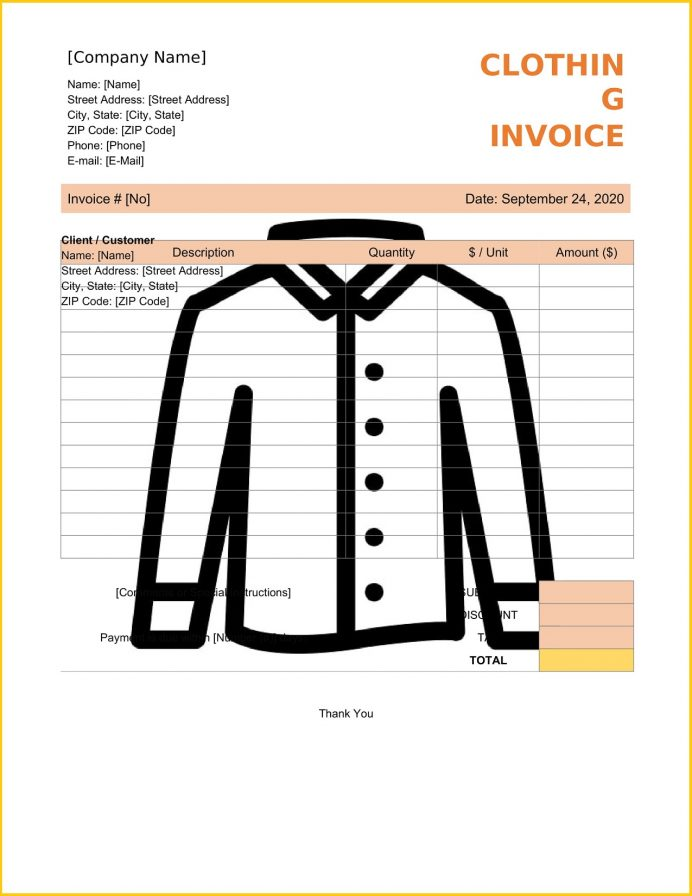 Clothing Invoice Word Template Tax Sample Cloth Shop Bill Format In Invoicemaker  (Garments)