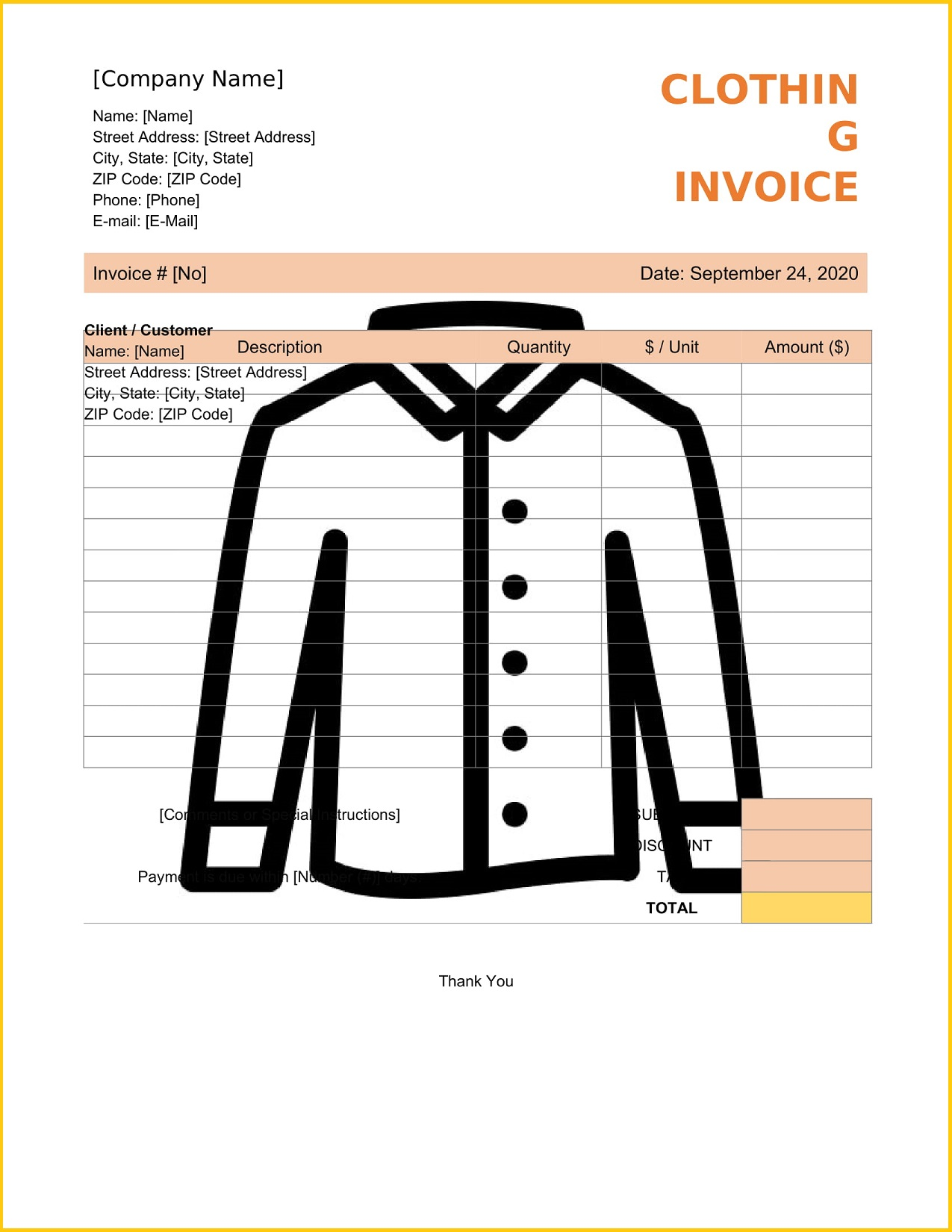 Clothing Invoice Word Template Tax Sample Cloth Shop Bill Format In Invoicemaker  (Garments) Full