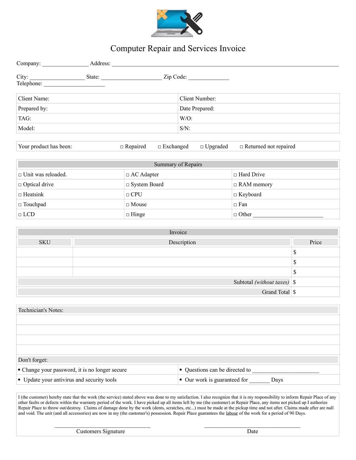 Computer Repair Service Invoice Word Doc Format