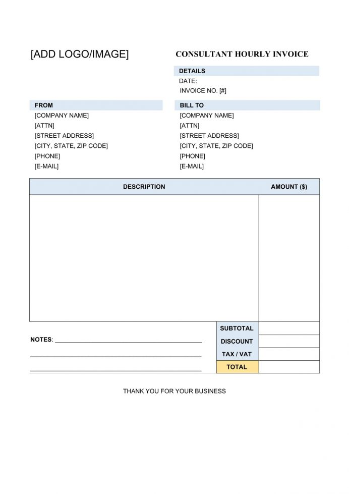 Consultant Hourly Rate Invoice Template Word Blank Consulting Independent Individual Google Docs Excel  Sample