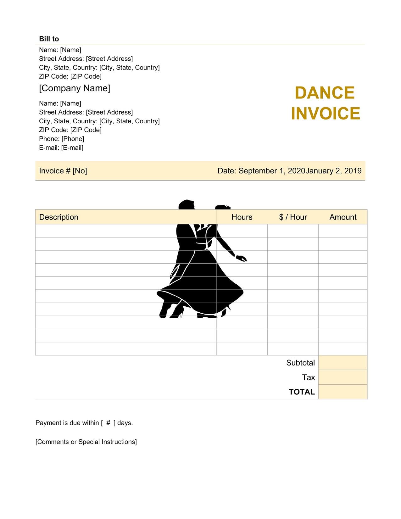 Dance Teacher Invoice Template Bill PDF Format