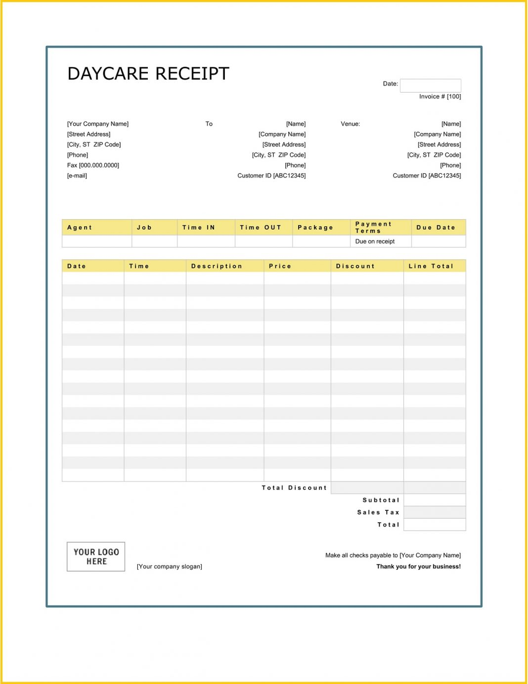Daycare Services Receipt Word Teplate How To Fill Out Book For Child Care Letter Payment Parents Fillable Template Excel  Sample Large