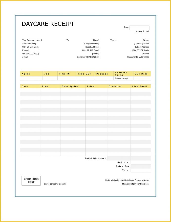 Daycare Services Receipt Word Teplate How To Fill Out Book For Child Care Letter Payment Parents Fillable Template Excel  Sample