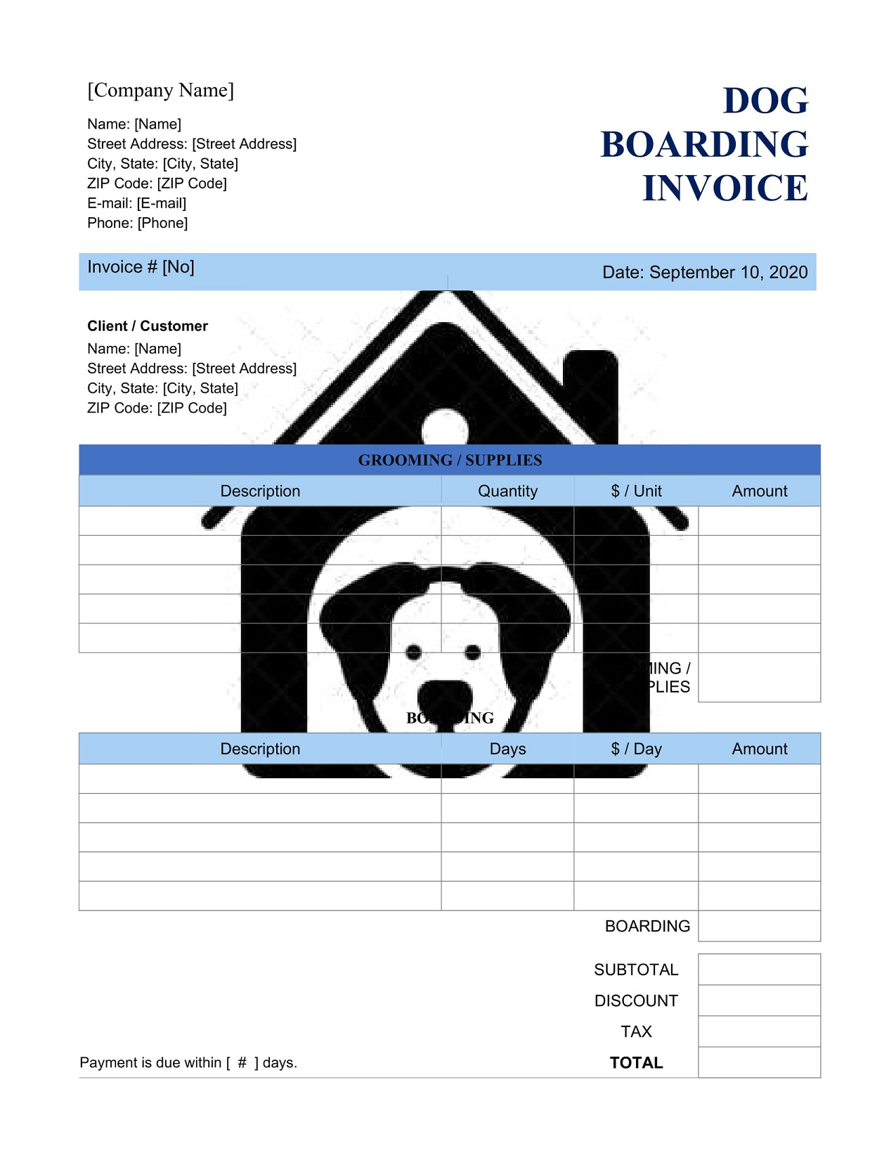 Dog Boarding Invoice Template Word