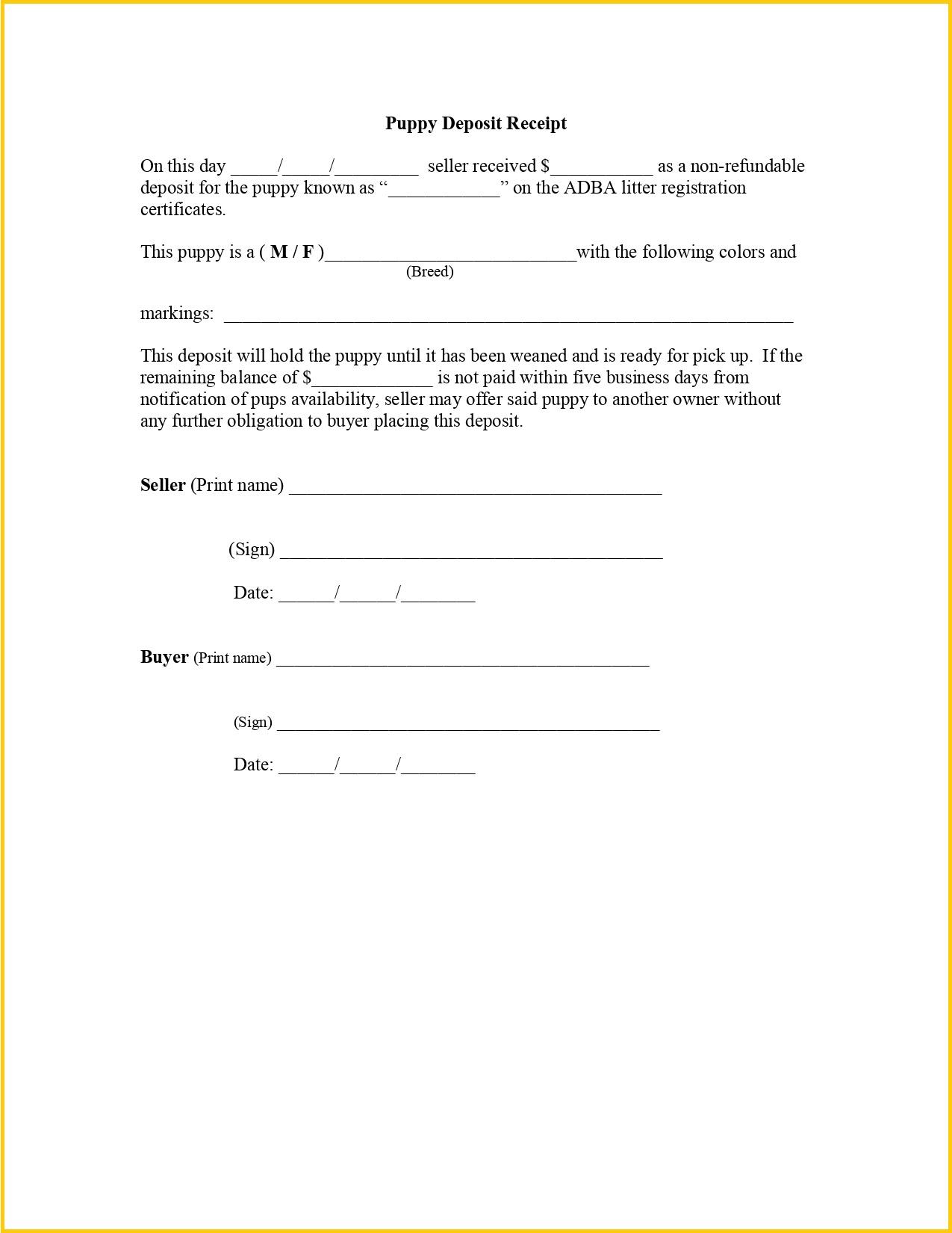 Dog Deposit Receipt PDF Template