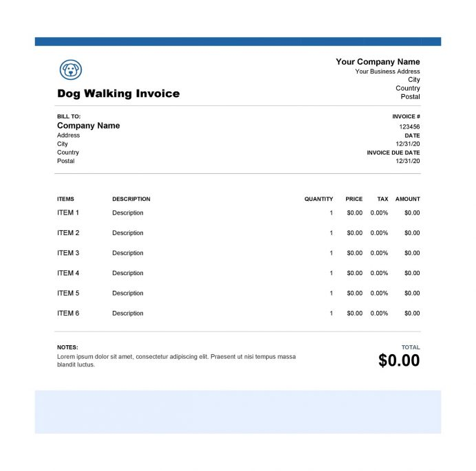 Dog Walking Excel Invoice Template Free Invoice Dog Walking Invoice Template Example