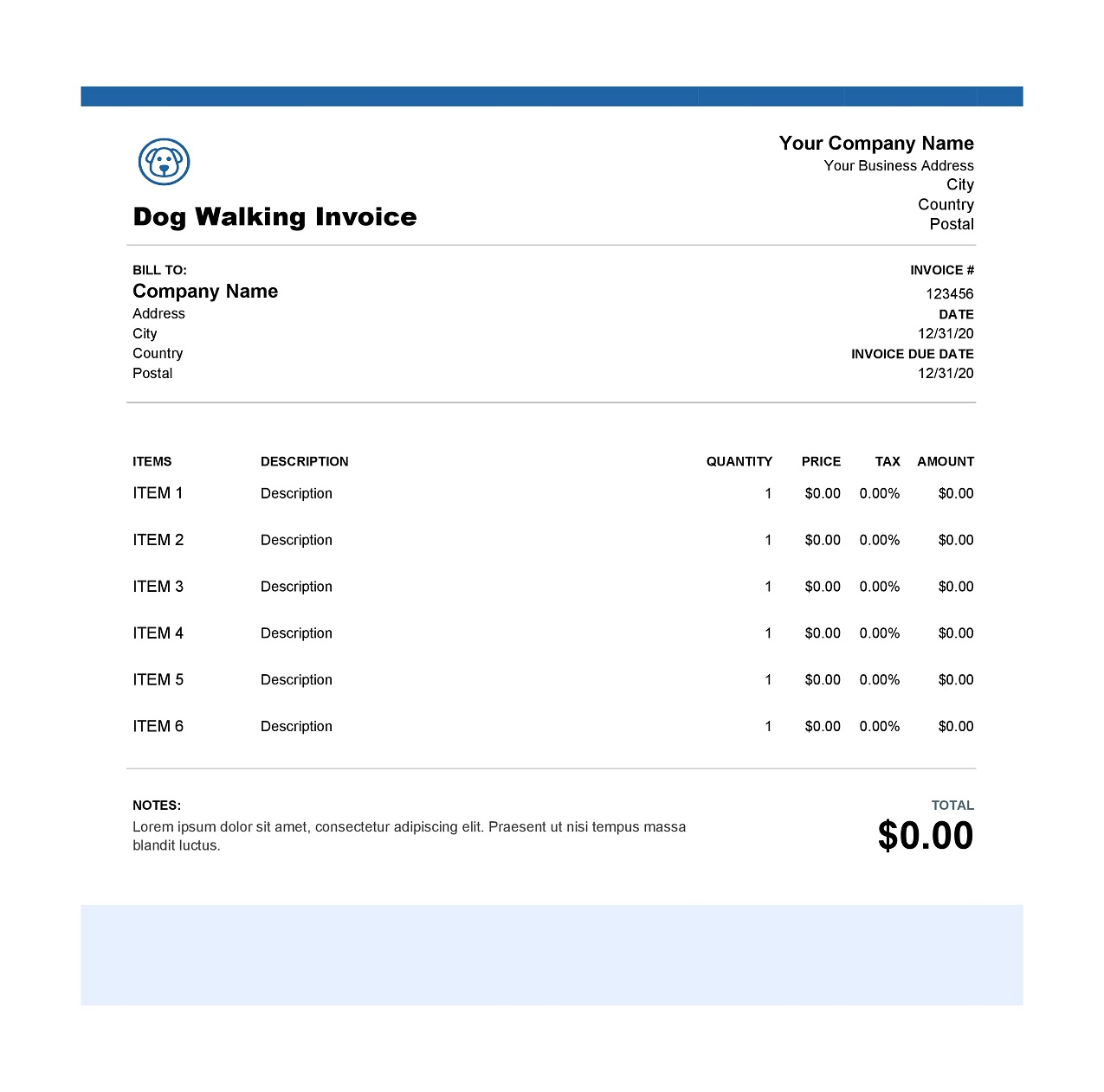 Dog Walking Excel Invoice Template Free