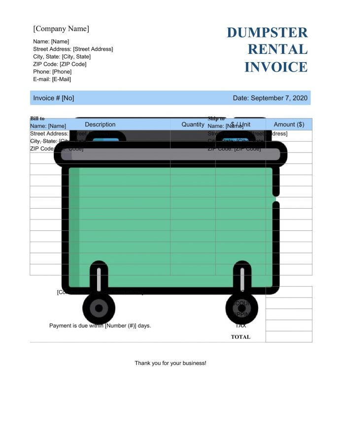 Dumpster Rental Invoice Template Word Format Invoice Dumpster Rental Invoice Template Example