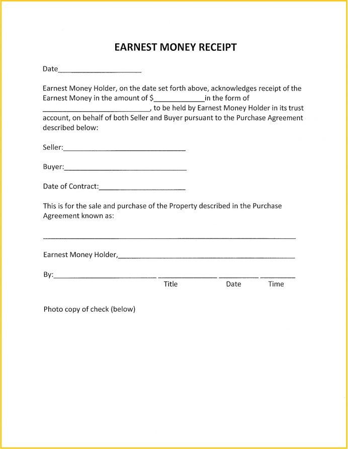 Earnest Money Deposit Receipt PDF Template Receipt Simple Earnest Money Deposit Receipt Template Example