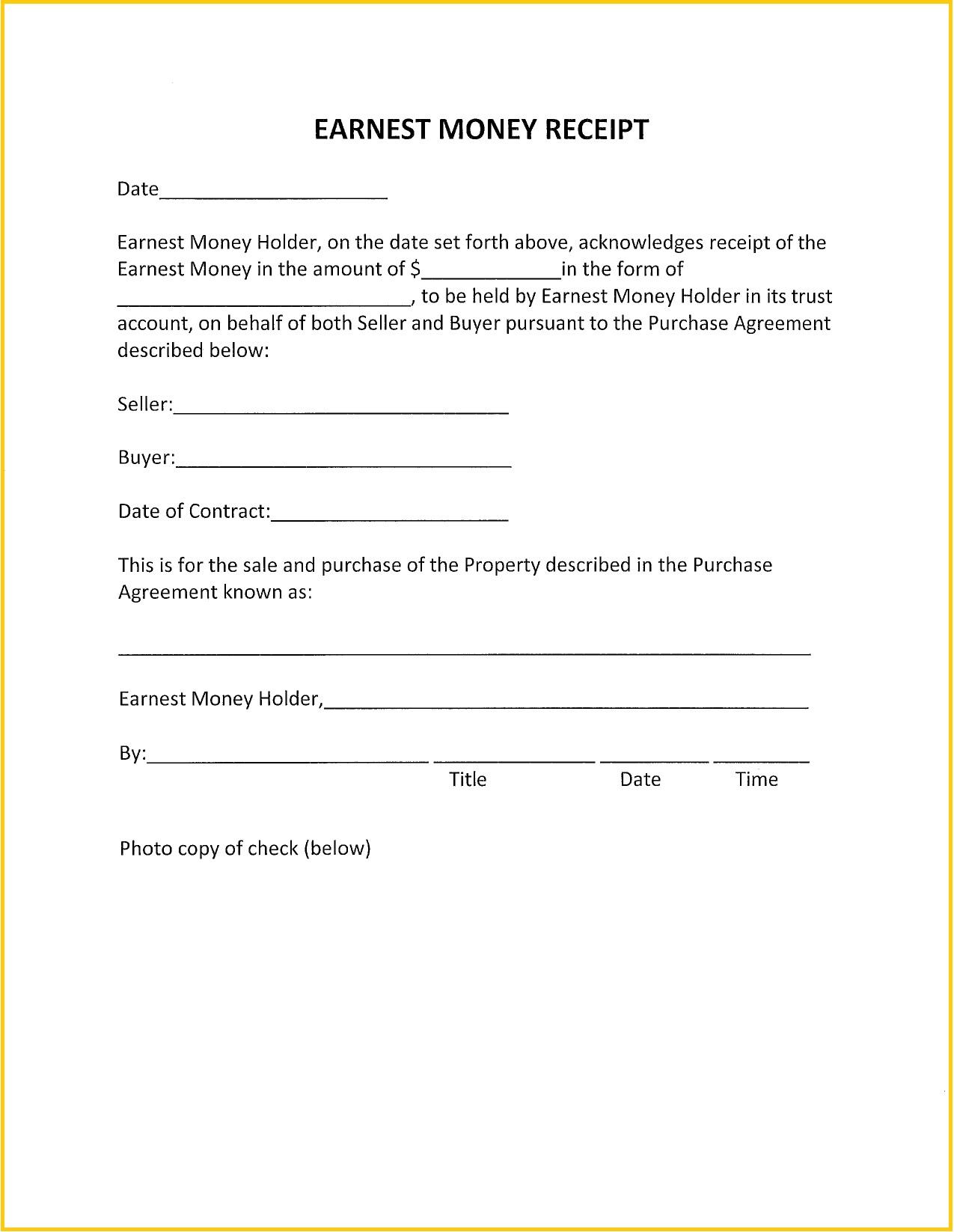 Earnest Money Deposit Receipt PDF Template