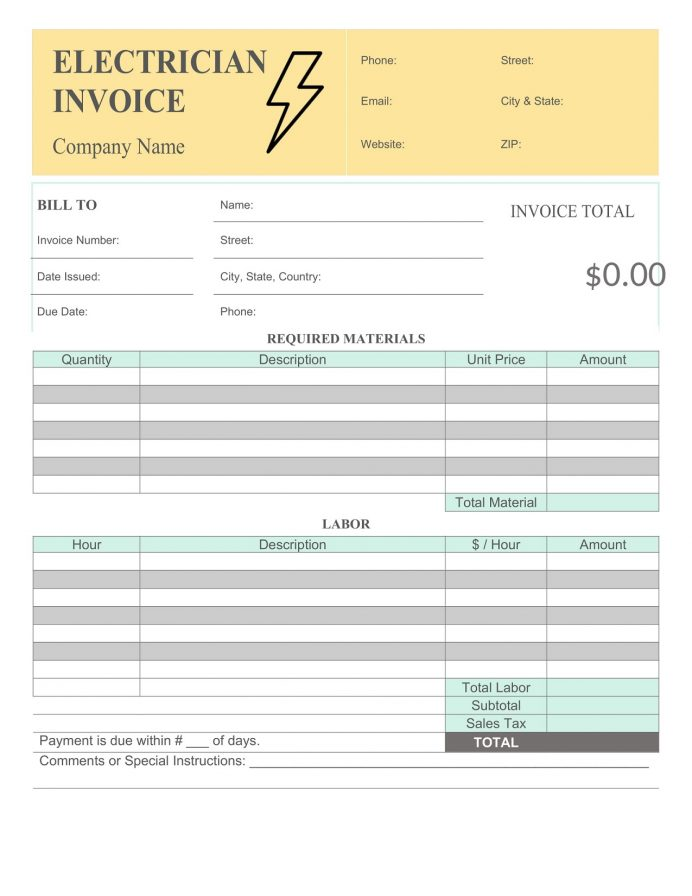 Electrician Invoice Word Template Free Invoice Electrician Invoice Template Example